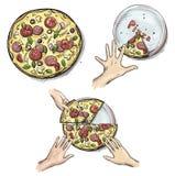 Yummy pizza, Handen die pizzaplakken houden vector illustratie