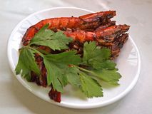 Yummy Prawns. Pan fried prawns cooked in black sauce and cut chilli Royalty Free Stock Photography