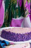 This is yummy purple yam cake. The root vegetable ,which has a sublime deep purple color ,makes the taste soft and sweet. stock photo