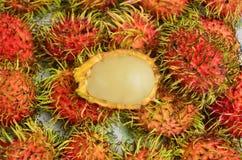 Yummy rambutan close up. Yummy rambutan of thai season fruit Royalty Free Stock Image