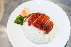 Yummy Roasted Duck and Rice with Gingers and Vegetables Stock Images