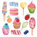 Yummy słodki karmowy bezszwowy wzór Akwarela ilustracyjni lizaki, babeczka, macaroon, jagoda, marshmallows, lody i pomarańcze, royalty ilustracja