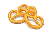 Yummy salted pretzels on white Royalty Free Stock Image