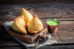 Yummy samosa with meat Royalty Free Stock Images