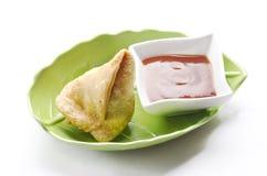 Yummy Samosas. With tomato sauce Stock Images