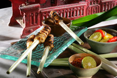 Yummy satay. Chicken satay grilled by traditional bali cooking Stock Photo