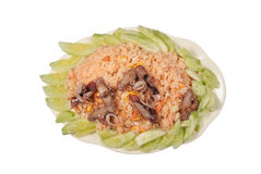 Yummy Seafood Fried Rice in Thai Style, Isolated.  Stock Photos