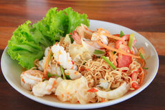 Yummy seafood with noodles Stock Photo