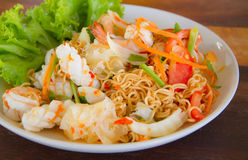 Yummy seafood with noodles Stock Image