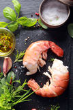 Yummy Shrimp Meat with Other Ingredients on Side Royalty Free Stock Images