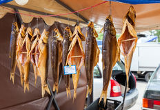 Yummy smoked fish ready to sale at the local farmers market Royalty Free Stock Photo