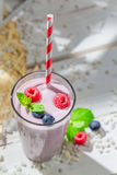 Yummy smoothie with berry fruits Royalty Free Stock Photography