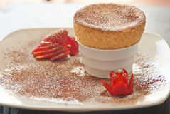 Yummy Souffle with Strawberries Royalty Free Stock Images