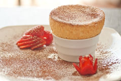 Yummy Souffle with Strawberries white plate Stock Photography