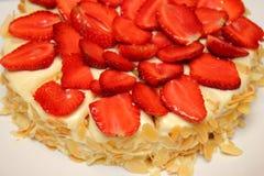 Yummy strawberry cake melting. Stock Images