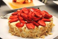 Yummy strawberry cake melting. Stock Photo
