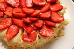 Yummy strawberry cake melting. Royalty Free Stock Photos