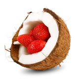 Yummy strawberry in coconut. On white background Stock Photos
