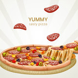 Yummy tasty pizza with sausage. Banner Royalty Free Stock Images
