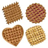 Yummy tasty waffles used to decorate flyers, promotions, websites, menus. Mouthwatering delicious waffles are used to decorate banners, flyers, promotions Royalty Free Stock Photo