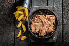 Yummy tbone steak and chips on the burnt table. Closeup of yummy tbone steak and chips on the burnt table Stock Image