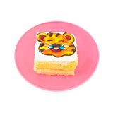 Yummy tiger cartoon decorated cake on white Stock Photography