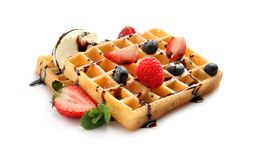 Free Yummy Waffles With Berries, Ice Cream And Chocolate Syrup On White Stock Image - 149957661