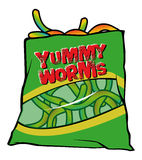 Yummy worms candy. Cartoon illustration of sweet yummy worms candy Royalty Free Stock Image