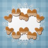 Gingerbread cookie letters. Yummy yummy inscription made of gingerbread cookies with icing on lace doily. Vector Illustration Stock Photos