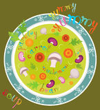 Yummy yummy soup. Illustration with plate of gourmet soup and colored text. Vector file is layered EPS8, all elements are grouped Stock Photo