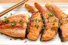 YummyTeriyaki Crispy Skin Salmon Royalty Free Stock Photos