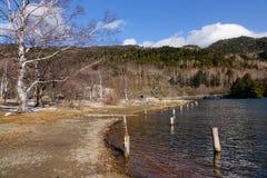 Yumoto湖看法在日光,日本 免版税图库摄影