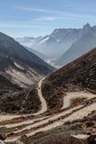 Yumthag Valley that view from high level to see the devious road line in winter at Lachung. North Sikkim, India Stock Photography