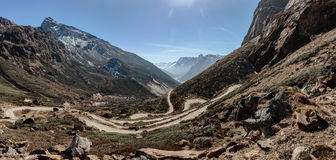 Yumthag Valley that view from high level to see the devious road line in winter at Lachung. North Sikkim, India Royalty Free Stock Photography