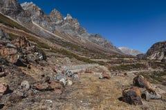 Yumthang谷从高级的那个看法在Lachung的冬天 北部锡金,印度 库存图片