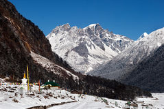 Yumthang Valley. Is a grazing pasture surrounded by the Himalayan Mountains in the North Sikkim district of Sikkim, India. It is at an elevation of 3,564 metres Stock Images