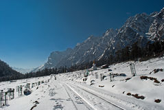 Yumthang Valley. Is a grazing pasture surrounded by the Himalayan Mountains in the North Sikkim district of Sikkim, India filled with thick snow in winter. It Royalty Free Stock Photo
