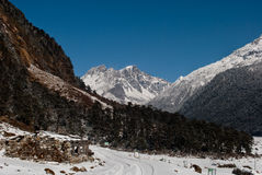 Yumthang Valley. Is a grazing pasture surrounded by the Himalayan Mountains in the North Sikkim district of Sikkim, India filled with thick snow in winter. It Stock Photos