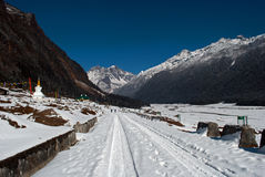 Yumthang Valley. Is a grazing pasture surrounded by the Himalayan Mountains in the North Sikkim district of Sikkim, India filled with thick snow in winter. It Royalty Free Stock Photos