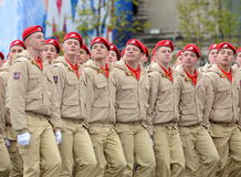 Yunarmeytsy of the All-Russian military-patriotic movement `Yunarmiya` on Red Square during the parade dedicated to the 72nd anniv. MOSCOW, RUSSIA - MAY 09, 2017 Royalty Free Stock Images