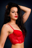 Brunette woman in beautiful red lingerie on dark background Stock Photography