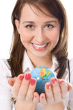 Yung beauty girl hold globe in palm Royalty Free Stock Image