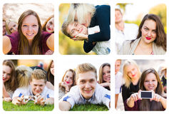 Yung folk som har gyckel Fotografering för Bildbyråer