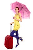 Yung girl with Red suitcase Stock Photos