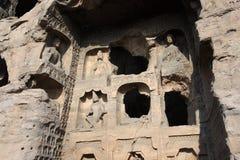 Yungang Grottoes Arkivbilder