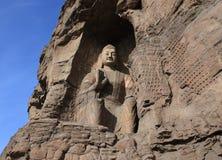 Yungang Grottoes Arkivfoto