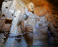 Yungang Grottoes. The Yungang Grottoes are ancient Chinese Buddhist temple grottoes near the city of Datong Stock Photo