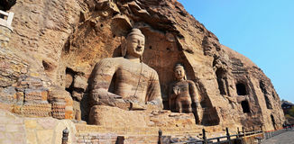 Yungang Grottoes. The Yungang Grottoes are ancient Chinese Buddhist temple grottoes near the city of Datong Royalty Free Stock Image