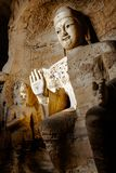 Yungang Grottoes, Buddhism. Cave 3 Giant Buddha. Datong, Shanxi. China. December 6th, 2015 royalty free stock photography