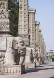 Yungang Grottoes elephant sculptures. The door to Yungang Grottoes main road, the elephant sculptures Stock Photo
